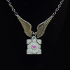 Weighted Companion Cube Angel Wings Necklace